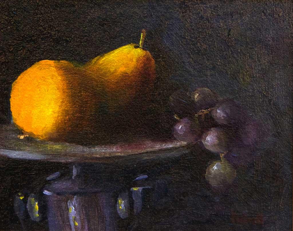 Peach, Pear and Grapes