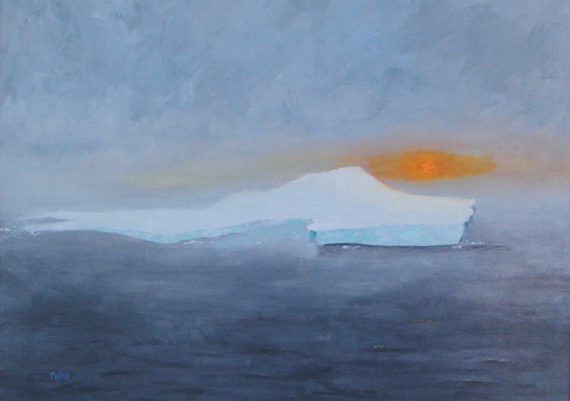 Iceberg with Misty Sun